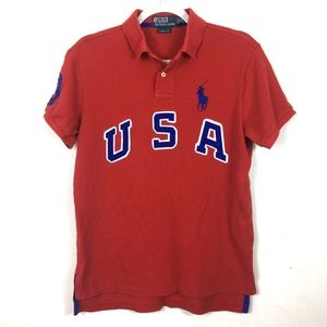 Vintage Polo by Ralph Lauren Red Collar Top M /a